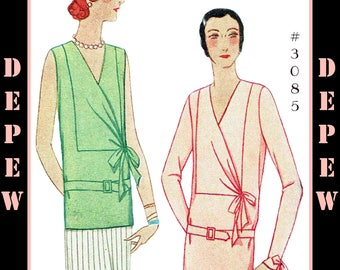 Vintage Sewing Pattern Reproduction Ladies' 1920s 1930s Blouse in 4 Versions #3085 - INSTANT DOWNLOAD