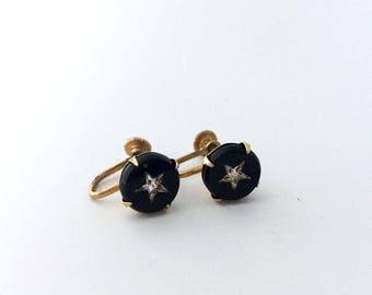 Vintage Screw Back Rhinestone Star Earrings Black