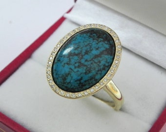 AAAA Turquoise Hubei 18 x 13mm  5.73 Carats   14K Yellow gold Diamond halo cabochon ring. 1502