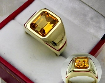 AAAA Citrine 10x8mm  3.67 Carats   Heavy 14K Yellow gold Emerald cut Mans ring 15-16 grams 1760