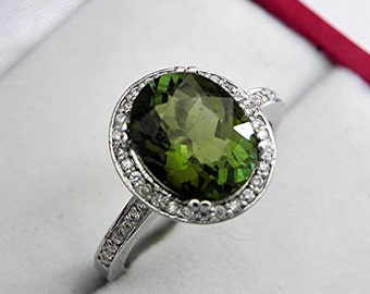 AAAA Green Tourmaline   10x8mm  2.82 Carats   in 14K white gold Halo engagement ring with diamonds (.25ct) Ring 0340