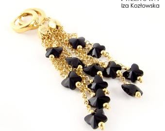 Odezja black - gold-plated silver earrings with Swarovski crystals