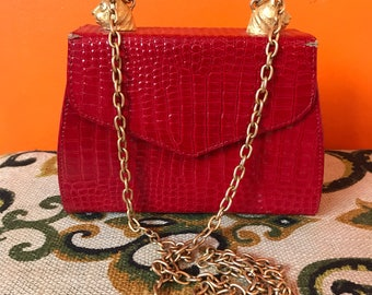 Structured Handbag // Gold Chain Strap // Red Purse // Tiger // 80s Party // 1980s Clothing // Crossbody Bag // Faux Snakeskin // Hip Hop