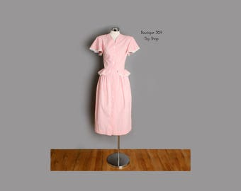 1940's Marilyn Monroe Style Pink Cotton Day Dress - MED