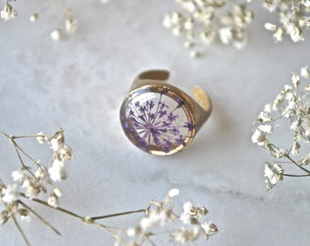 Pressed Purple Queen Annes Lace Ring, Golden Brass Signet Ring, Adjustable