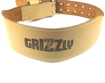 Vintage Grizzly Weight Lifting Belt Cowhide Leather Made in Canada