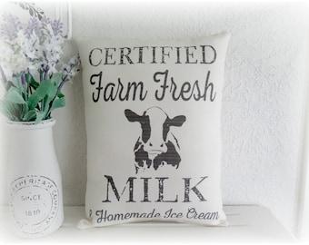 Farm Fresh Milk Cow Muslin Decorative Accent Pillow Farmhouse Inspired Pillow