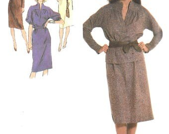 1970s Dress Pattern Simplicity Vintage Sewing Pullover 1 or 2 Piece Uncut Women's Misses Size 18 and 20 Bust 40 and 42 Inches