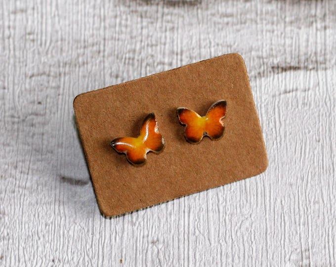 Butterfly Earrings, Teeny Tiny Earrings, Yellow Butterfly Jewelry, Cute Earrings