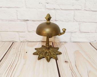 Vintage Ornate Brass Hotel Front Desk Counter Bell Hop Bell