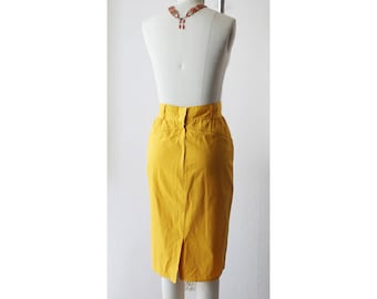 1980s Karl Lagerfeld Yellow Mustard High Waist Pencil Skirt