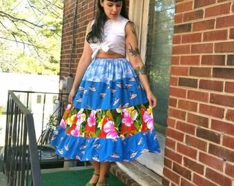 Vintage Hawaiian Print Full Skirt Hibiscus Skirt Tiki Print Skirt Hawaiian Swing Dancing Tiered Skirt Free Size