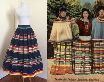 1940s Vibrant Seminole Native American Skirt- Colorful handmade vintage