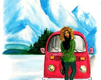 Travel Fashion Illustration of Woman and VW Van in Alaska Print