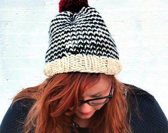 Knit Striped Pom Pom Beanie Hat - Cream, Navy, and Cranberry