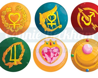Sailor Moon, Sailor Jupiter, Sailor Mars, Sailor Venus, Sailor Mercury, Chibiusa || Glitter Holographic Compact Pocket Mirror || 3 Inches