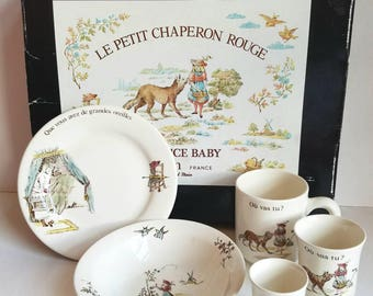 Le Petit Chaperon Rouge Baby Service by Gien France * 5 pieces * Feeding Set * Little Red Riding Hood