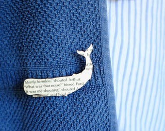 The Hitchhiker's Guide to The Galaxy whale brooch - classic book page jewellery