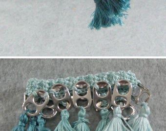 Pop Tab Bracelet - Blue-Greens Tassel Pop Tab Bracelet - Crochet Bracelet - Pop Tab Jewelry - Tassel Bracelet