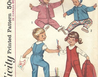 1960s Simplicity 5101 Vintage Sewing Pattern Toddlers Overalls, Jacket, Hat or Bonnet Size 1, Size 3