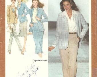 1980s Simplicity 9375 Vintage Sewing Pattern Misses Skirt, Long Pants, Jacket, Blazer Size 12 Bust 34
