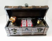 Treasure Chest Bar Amber Glass Decanter Set Shot Glasses Pirates Box Vintage Wood Medieval chest with lions heads