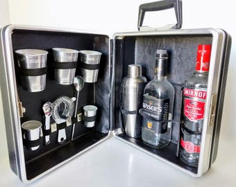 Travel Portable Bar, Barware Tools, Glasses and Cocktail Shaker, Globetrotter Black Faux Leather Bartender Suitcase