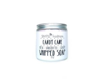 Candy Cane Whipped Soap | Fluffy Whipped Soap | Soap in a Jar | 8 oz Fluffy Soap | Cream Soap | Vegan Friendly | Body Wash | Peppermint |