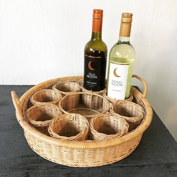 wicker drink caddy - cocktail serving tray - wine storage basket - bamboo propagation station - boho kitchen bath storage