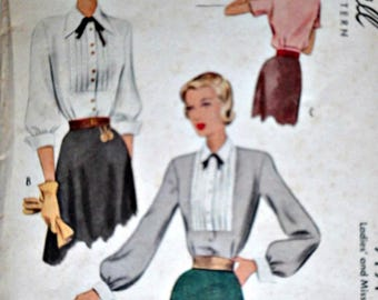 Vintage 40's Sewing Pattern, Misses' Tucked Front Button Blouse, McCall 7194, Size 14, 34 Bust, 1940's Fashion