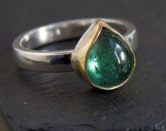 Blue green tourmaline ring / 18k gold / October birthstone / tourmaline jewelry / tourmaline crystal / tourmaline ring / paraiba / gift