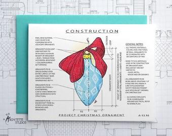 Project Christmas Ornament (Blue) Construction - Instant Download Printable Art - Construction Series
