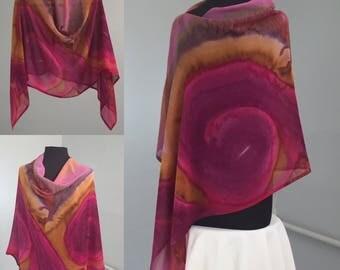 Firebird Poncho - Hand Painted Silk Chiffon