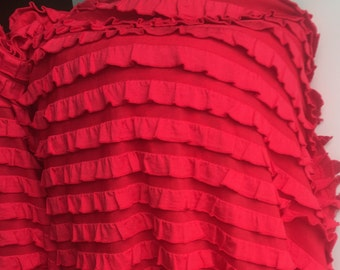 "1/2"" Red Ruffle Stretch Fabric BTY"