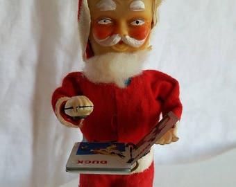 Vintage Santa Claus Mechanical Tin Toy, Santa Reading Book, Works! Christmas Decoration, Scary Santa, Kitschy Collectible