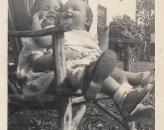 Original Vintage Photograph Girl in Chair Outdoors Baby Toddler on Lap Cute 1930s