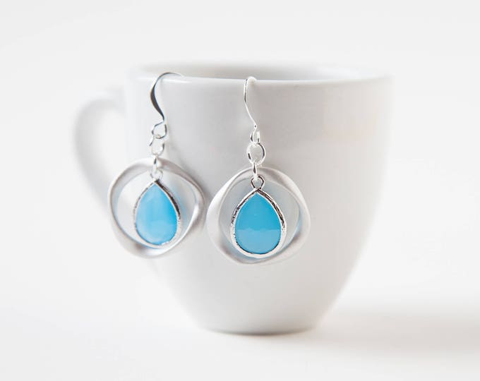 Ocean blue Silver ring earrings