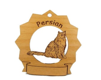 7300 Persian Cat Sitting Personalized Wood Ornament