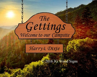 Wood Campsite  Sign - Custom RV Sign - Carved Cedar Family Name Sign - Includes Addon sign - JGWoodsigns - Etsy Getting