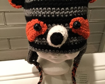 Raccoon hat for 12 to 18 months - Ready to ship FREE