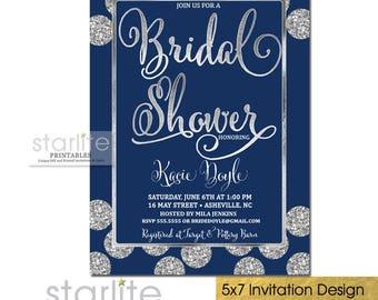 Navy and Silver Bridal Shower Invitation, Navy Silver Glitter Bridal Shower Invitation, Navy Blue and Silver Bridal Shower Invite, Printable