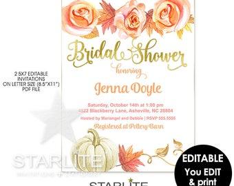 Fall Bridal Shower Invitation Instant Download, Fall Bridal Shower Invite EDITABLE Template, Fall Bridal Shower Invitation Printable Instant