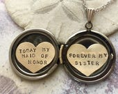 Personalized bridesmaid gift, Today My Maid of Honor Forever My Sister, Maid of Honor gift, Bridesmaid gift, heart locket necklace