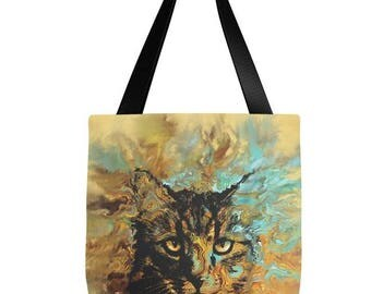 Tote Bag All over print Cat 617 orange aqua turquoise by L.Dumas Artbylucie Totes