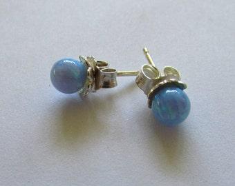 Single Opal Bead Stud Earrings, 5mm Opal Bead on Sterling Silver Studs, One pair Opal earrings, Simple and Elegant Minimalist Earring