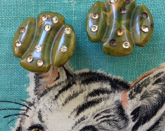 Bakelite creamed spinach green rhinestone clip on earrings