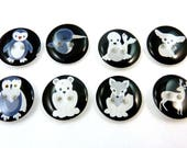 8 Arctic Animal Buttons.  Arctic fox, Fennec Fox, Narwhal, owl, deer, seal, penguin, polar bear sewing buttons.  Choose your size.