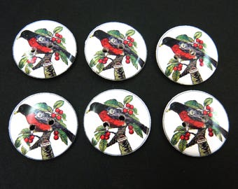 6 Bird Buttons.  Handmade by Me.  Robin Buttons. Washer and Dryer Safe. Archival Safe.  Choose Your Size.