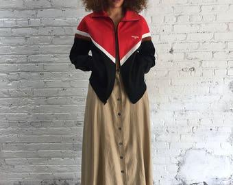 vintage Spalding track jacket / red brown black sports bomber jacket
