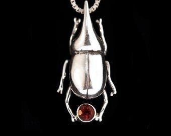 Beetle Jewelry Bug Charm Scarab Beetle Necklace Rhinoceros Beetle Charm Beetle Pendant Rainforest Jewelry Jungle Creature Pendant Bug Charm